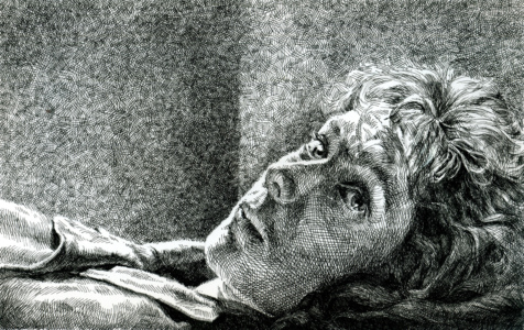 Portrait in bed, inkdrawing with crosshatching